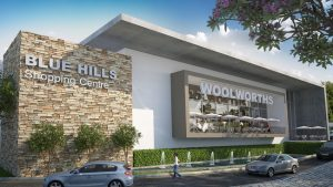 blue hills shopping center concept with Woolworths